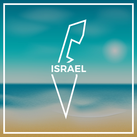 Israel map rough outline against the backdrop of beach and tropical sea with bright sun.