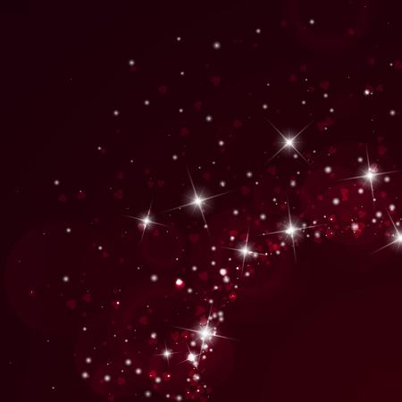 Falling hearts valentine background. Radiant right bottom corner on wine red background. Falling hearts valentines day divine design. Vector illustration. Illustration
