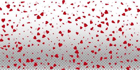 3d hearts valentine background. Wide scatter on transparent grid light background. 3d hearts valentines day fair design. Vector illustration.