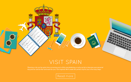 Visit Spain concept for your web banner or print materials. Top view of a laptop, sunglasses and coffee cup on Spain national flag. Flat style travel planning website header.