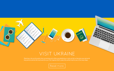 Visit Ukraine concept for your web banner or print materials. Top view of a laptop, sunglasses and coffee cup on Ukraine national flag. Flat style travel planninng website header. Illustration