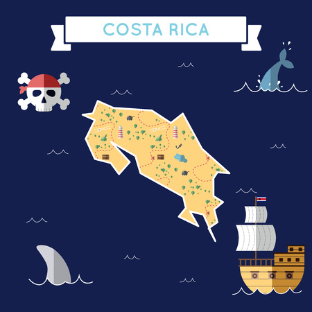 Flat treasure map of Costa Rica. Colorful cartoon with icons of ship, jolly roger, treasure chest and banner ribbon. Flat design vector illustration.