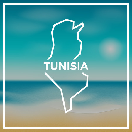 Tunisia map rough outline against the backdrop of beach and tropical sea with bright sun.