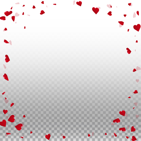 3d hearts valentine background. Corner frame on transparent grid light background. 3d hearts valentines day fantastic design. Vector illustration.