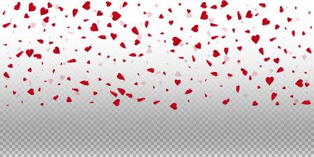 3d hearts valentine background. Wide top gradient on transparent grid light background. 3d hearts valentines day graceful design. Vector illustration.