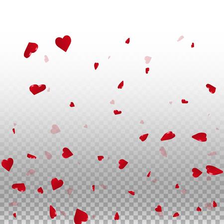 3d hearts valentine background. Bottom gradient on transparent grid light background. 3d hearts valentines day decent design. Vector illustration.