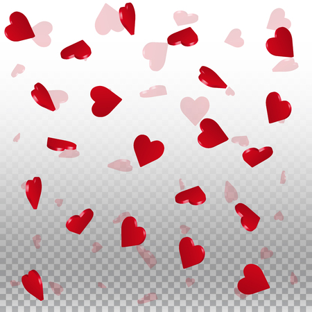 3d hearts valentine background. Scattered pattern on transparent grid light background. 3d hearts valentines day vibrant design. Vector illustration.