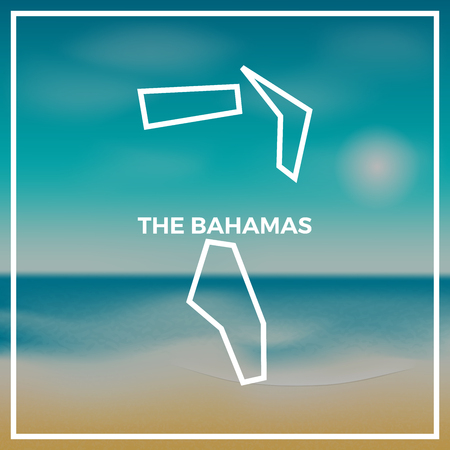Bahamas map rough outline against the backdrop of beach and tropical sea with bright sun. Illustration