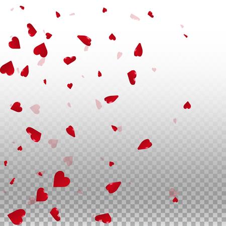 3d hearts valentine background. Left gradient on transparent grid light background. 3d hearts valentines day good-looking design. Vector illustration.