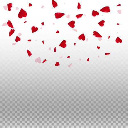 3d hearts valentine background. Top semicircle square on transparent grid light background. 3d hearts valentines day ecstatic design. Vector illustration. Ilustração