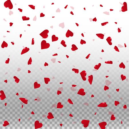 3d hearts valentine background. Scattered pattern on transparent grid light background. 3d hearts valentines day unequaled design. Vector illustration.