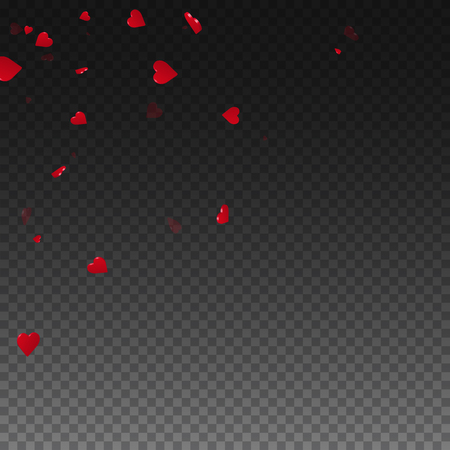 3d 마음 발렌타인 배경입니다. 투명 한 눈금 어두운 배경에 흩어져있는 왼쪽 상단 모서리. 3d 마음 발렌타인 하루에 적합합니다. 일러스트
