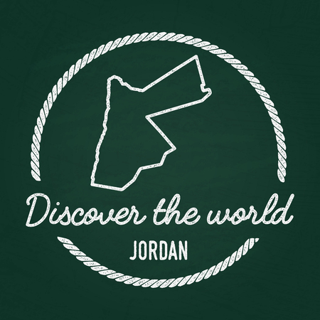 White chalk texture hipster insignia with Hashemite Kingdom of Jordan map on a green blackboard. Grunge rubber seal with country outlines, vector illustration. 向量圖像