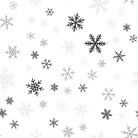 Black snowflakes seamless pattern on white Christmas background. Chaotic scattered black snowflakes. Delightful Christmas creative pattern. Vector illustration.