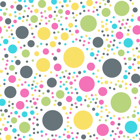 Colorful polka dots seamless pattern on white 10 background. Charming classic colorful polka dots textile pattern. Seamless scattered confetti fall chaotic decor. Abstract vector illustration.