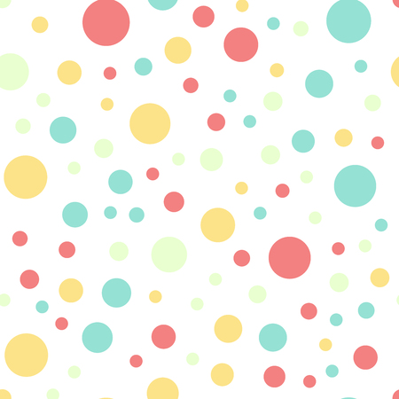 Colorful polka dots seamless pattern on white 16 background. Breathtaking classic colorful polka dots textile pattern. Seamless scattered confetti fall chaotic decor. Abstract vector illustration.