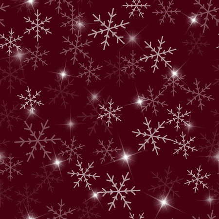 Transparent snowflakes seamless pattern on wine red Christmas background.