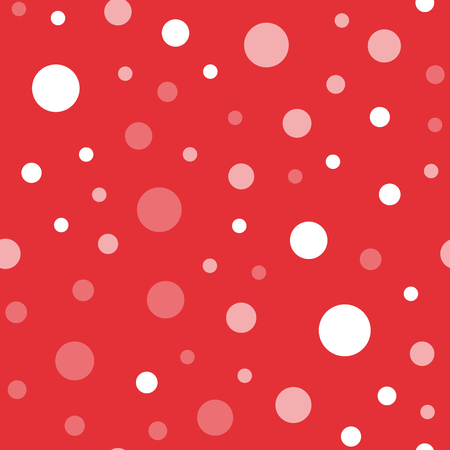 White polka dots seamless pattern on red background. Charming classic white polka dots textile pattern in restrained colours. Seamless scattered confetti fall chaotic decor. Vector illustration. Illustration