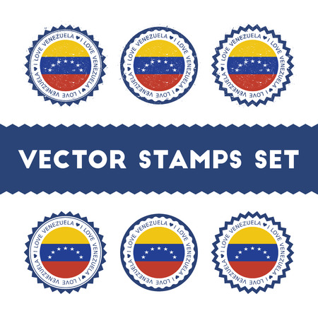 I Love Venezuela, Bolivarian Republic of vector stamps set. Retro patriotic country flag badges. National flags vintage round signs. 向量圖像