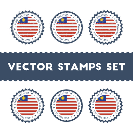 I Love Malaysia vector stamps set. Retro patriotic country flag badges. National flags vintage round signs.
