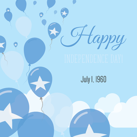 Independence Day Flat Greeting Card. Somalia Independence Day. Somali Flag Balloons Patriotic Poster. Happy National Day Vector Illustration. Vetores