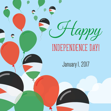 Independence Day Flat Greeting Card. Palestine, State of Independence Day. Palestinian Flag Balloons Patriotic Poster. Happy National Day Vector Illustration.