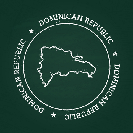 Gummidichtung der weißen Kreidebeschaffenheit mit Karte der Dominikanischen Republik auf einer grünen Tafel. Schmutzgummidichtung mit Landentwürfen, Vektorillustration.