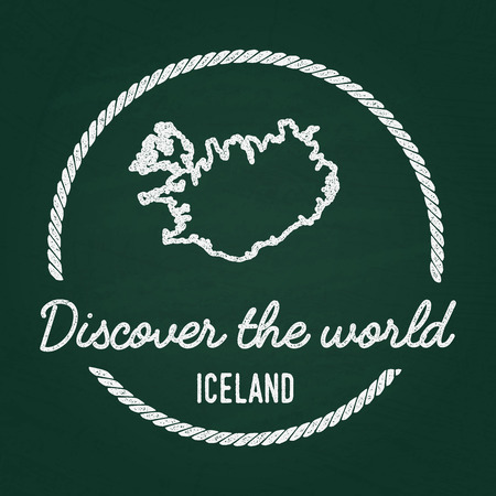 White chalk texture hipster insignia with Republic of Iceland map on a green blackboard. Grunge rubber seal with country outlines, vector illustration.
