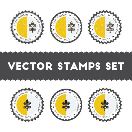 I Love Holy See (Vatican City State) vector stamps set. Retro patriotic country flag badges. National flags vintage round signs.