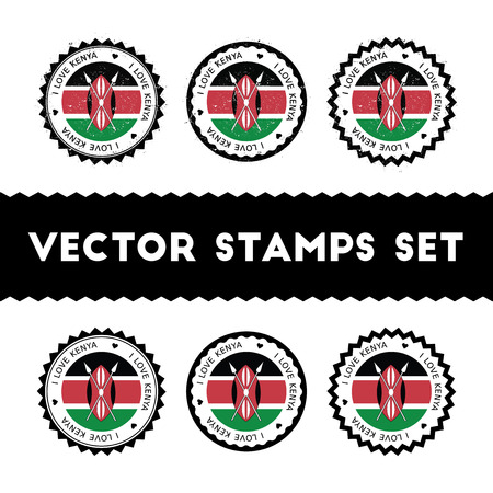 I Love Kenya vector stamps set. Retro patriotic country flag badges. National flags vintage round signs.  イラスト・ベクター素材
