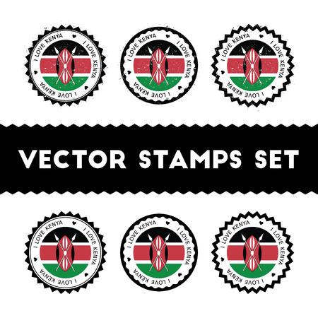 I Love Kenya vector stamps set. Retro patriotic country flag badges. National flags vintage round signs. Illustration
