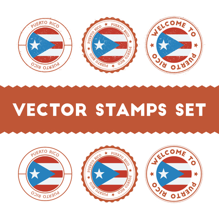 Puerto Rican flag rubber stamps set. National flags grunge stamps. Country round badges collection. Illustration