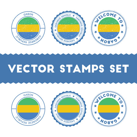 Gabonese flag rubber stamps set. National flags grunge stamps. Country round badges collection. Illustration