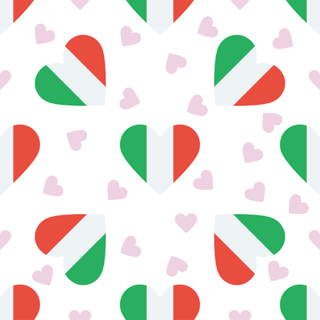 Italy independence day seamless pattern. Patriotic background with country national flag in the shape of heart. Vector illustration. Illustration