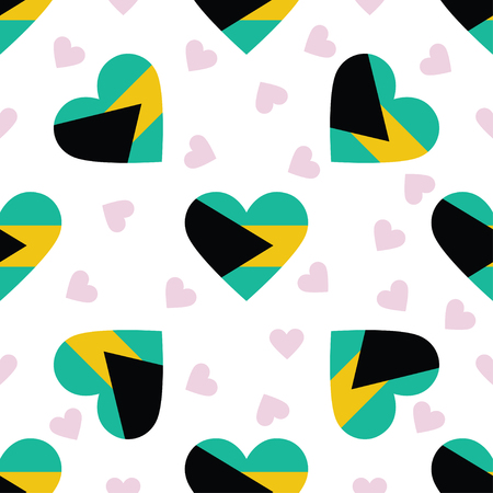 Bahamas independence day seamless pattern. Patriotic background with country national flag in the shape of heart. Vector illustration.