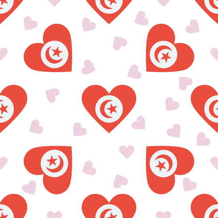 Tunisia independence day seamless pattern. Patriotic background with country national flag in the shape of heart. Vector illustration.