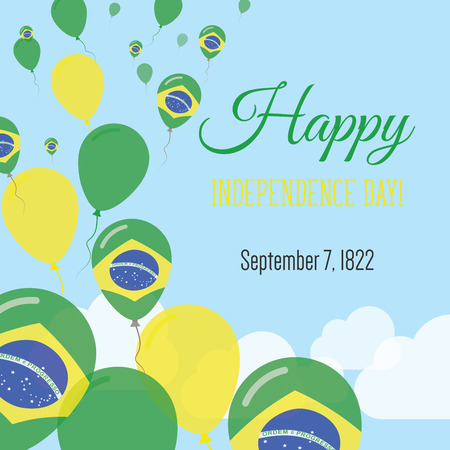 Independence Day Flat Greeting Card.   Brazilian Flag Balloons Patriotic Poster. Happy National Day Vector Illustration.