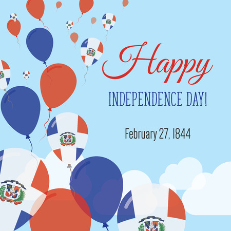 Independence Day Flat Greeting Card. Dominican Republic Independence Day. Dominican Flag Balloons Patriotic Poster. Happy National Day Vector Illustration.