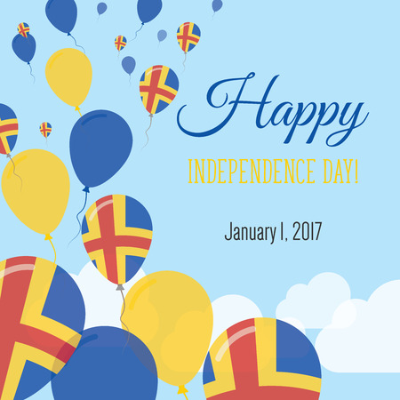 Independence Day Flat Greeting Card. Aland Islands Independence Day. Swedish Flag Balloons Patriotic Poster. Happy National Day Vector Illustration.