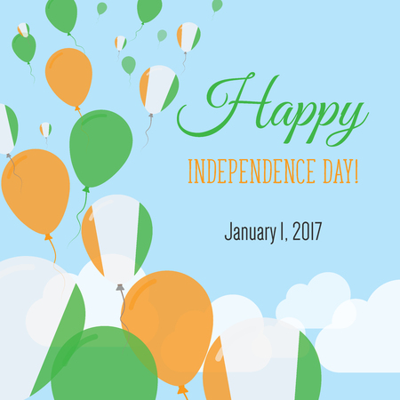 Independence Day Flat Greeting Card. Republic of Ivory Coast Independence Day. Ivorian Flag Balloons Patriotic Poster. Happy National Day Vector Illustration.