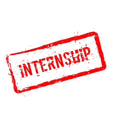 Internship red rubber stamp isolated on white background. Grunge rectangular seal with text, ink texture and splatter and blots, vector illustration.