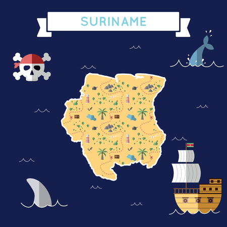 Flat treasure map of Suriname. Colorful cartoon with icons of ship, jolly roger, treasure chest and banner ribbon. Flat design vector illustration.