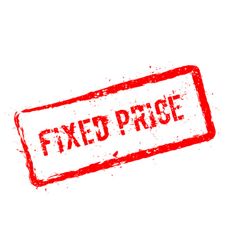 Fixed price red rubber stamp isolated on white background. Grunge rectangular seal with text, ink texture and splatter and blots, vector illustration. Ilustrace