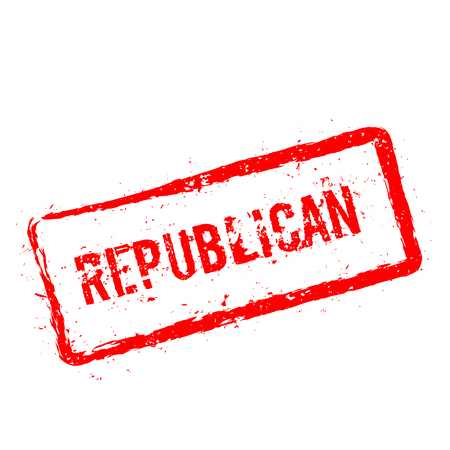 Republican red rubber stamp isolated on white background. Grunge rectangular seal with text, ink texture and splatter and blots, vector illustration.