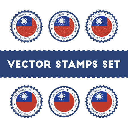I Love Taiwan, Republic Of China vector stamps set. Retro patriotic country flag badges. National flags vintage round signs. Illustration