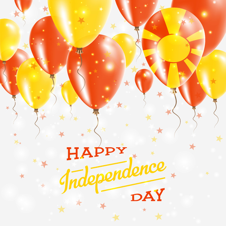 Macedonia, the Former Yugoslav Republic Of Vector Patriotic Poster. Independence Day Placard with Bright Colorful Balloons of Country National Colors.