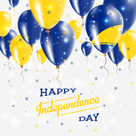 Tokelau Vector Patriotic Poster. Independence Day Placard with Bright Colorful Balloons of Country National Colors. Tokelau Independence Day Celebration.