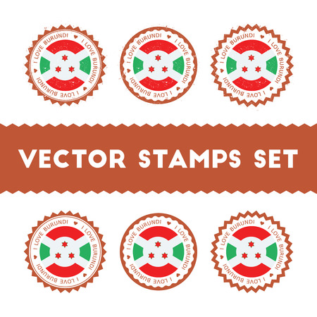 I Love Burundi vector stamps set. Retro patriotic country flag badges. National flags vintage round signs.