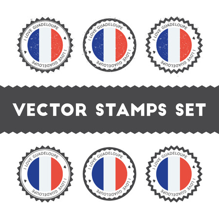 I Love Guadeloupe vector stamps set. Retro patriotic country flag badges. National flags vintage round signs. Çizim