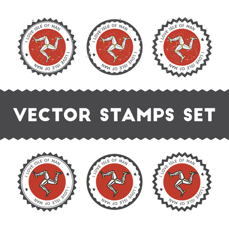 I Love Isle of Man vector stamps set.